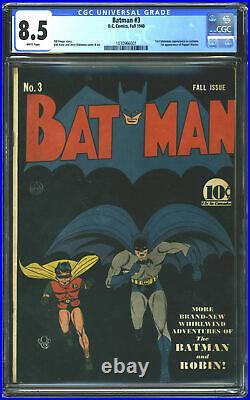 1940 D. C. Comics Batman #3 CGC 8.5 White Pages