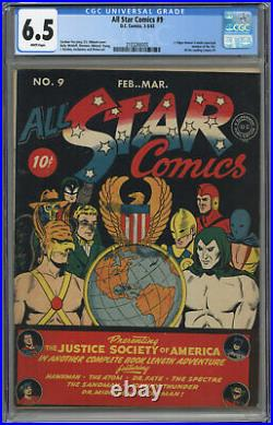 All Star Comics #9 Cgc 6.5 White Pages 1942