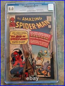 Amazing Spider-Man 18 CGC 8.0 Off White Pages Sandman appearance 1964