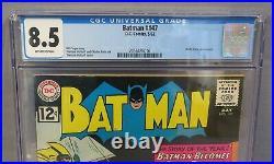 BATMAN #147 (Kathy Kane app) CGC 8.5 VF+ Off-White Pages DC Comics 1962