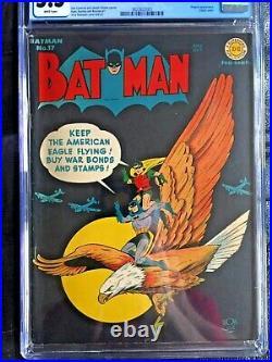 BATMAN #17 CGC FN- 5.5 White pg! Classic WWII eagle cover Penguin app