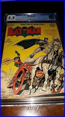 BATMAN #24 CGC 5.5 (FN-) 1944 Cream to Off White Pgs 1ST APP PROFESSOR NICHOLS