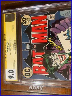 BATMAN #251 9/73 CGC 9.0 WHITE! SS NEAL ADAMS With SKETCH! CLASSIC JOKER COVER