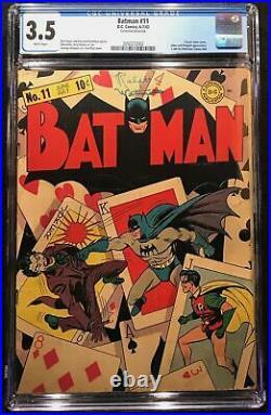 Batman #11 (1942) CGC 3.5 White Pages Classic Joker Cover