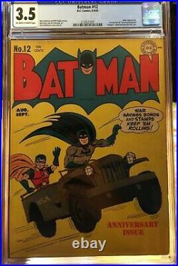 Batman #12 (1942) CGC 3.5 - O/w to white pgs 1st proto-Bat Cave Joker app