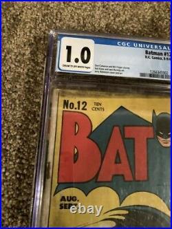 Batman# 12 Cgc 1.0 Cream To Off White Pages (joker App. 1st Mention Batcave)