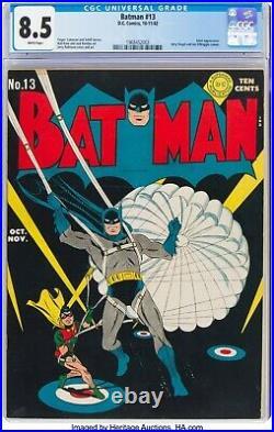 Batman #13 CGC 8.5 White Pages! 1942 WW2 Era, Joker