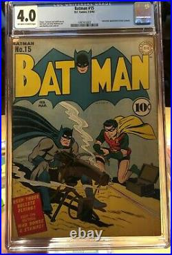 Batman #15 (1943) CGC 4.0 - O/w to white pgs New Catwoman costume War cover