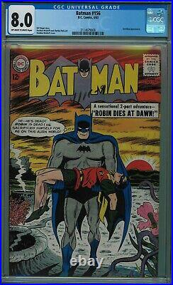 Batman #156 Cgc 8.0 Classic Cover & Story! Off-white To White Pages 1963