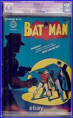 Batman #16 (1943) CGC 6.0 (C1) WHITE pgs 1st app of Alfred New TV series