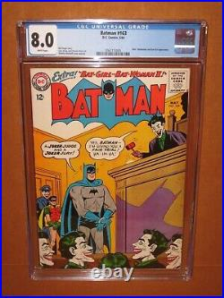 Batman #163 CGC 8.0 WHITE pages! A TOP 50 unrestored CGC! JOKER 12 pix INSURED