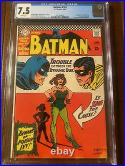 Batman #181 6/66 Cgc 7.5 White! First Appearance Poison Ivy With Pin-up Insert
