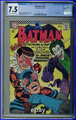 Batman #186 Joker Cover DC Comics 1966 CGC 7.5 Off-White/White Pages