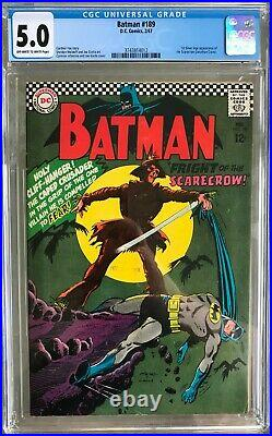 Batman #189 (1967) CGC 5.0 - O/w to White pages 1st app. Silver Age Scarecrow