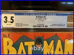 Batman (1941) # 6 DC CGC 3.5 White Pags Bob Kane Cover