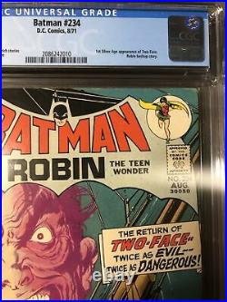 Batman #234 Cgc 7.5 1st Appearance Silver Age Two-face Rare White Pgs 1971