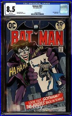 Batman 251 CGC 8.5 White Classic Joker Cover by Neal Adams