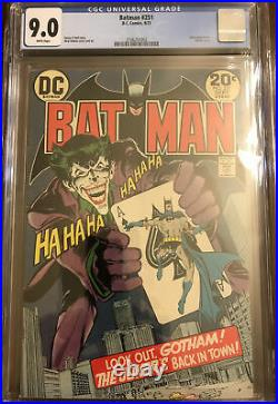 Batman #251, CGC 9.0, White Pages (1973, DC) 1st Silver Age Joker, Neal Adams