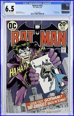 Batman #251 (Sep 1973, DC) Classic Neal Adams, Joker Cover! OWithWhite! CGC 6.5