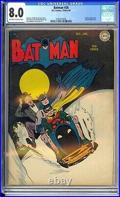 Batman #26 Cgc 8.0 Vf Very Nice Off White/white Pages! Bat-sled Cover