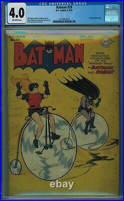 Batman #29 Cgc 4.0 Off-white Pages 1945