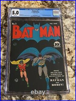 Batman #3 Cgc 5.0 Rare White Pages 1st App Catwoman In Costume New Movie Soon