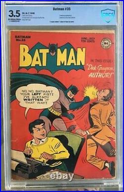 Batman #35 (1946) CBCS 3.5 - O/w to white New Catwoman costume Sprang CGC
