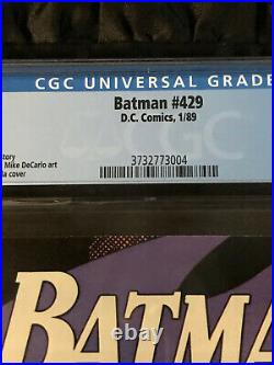 Batman #429 CGC 9.8 WHITE Pages PERFECT COPY Gentlemen Joker Cover