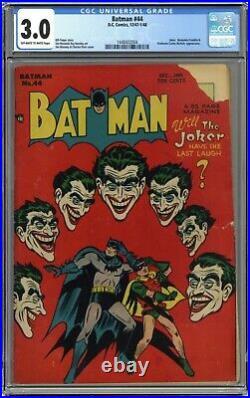 Batman 44 CGC 3.0. Incredible Golden Age Joker cover OWithWhite pgs