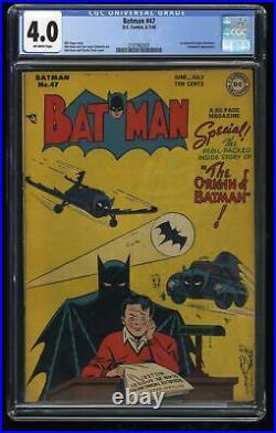 Batman #47 CGC VG 4.0 Off White 1st Print Origin Key Issue