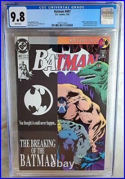 Batman #497 Bane Breaks Back D. C. DC 1993 CGC 9.8 NM/MT White Pages Comic S0123