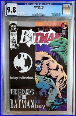 Batman #497 Bane Breaks Back D. C. DC 1993 CGC 9.8 NM/MT White Pages Comic U0151