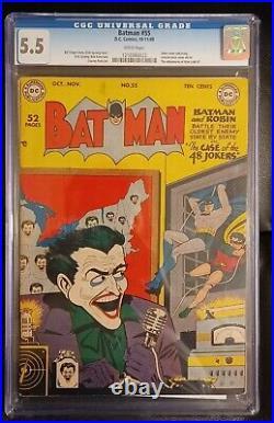 Batman 55 CGC 5.5 White Pages Joker Cover Golden Age! No Notes