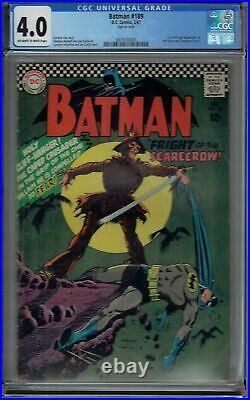 CGC 4.0 BATMAN #189 1ST SA APPEARANCE OF THE SCARECROW 1967 OWithWHITE PAGES