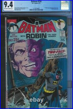 Cgc 9.4 Batman #234 1st Appearance Silver Age Two-face Ow To White Pgs 1971