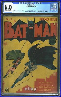 D. C. Comics Batman #1 CGC 6.0 Off-White to White Pages