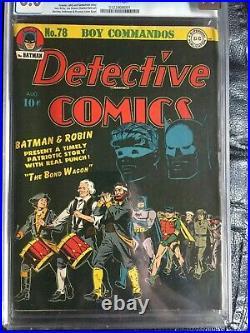 DETECTIVE COMICS #78 CGC FN 6.0 White pg! Classic black Spirit Of'76 cover