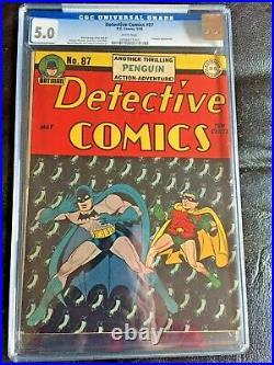 DETECTIVE COMICS #87 CGC VG/FN 5.0 White pg! Classic Sprang Penguin cvr
