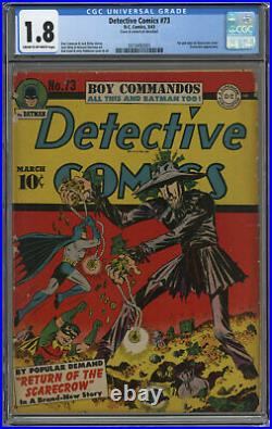 Detective Comics #73 Cgc 1.8 Cream To Off-white Pages 1943