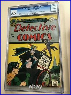Detective Comics #80 1943 CGC 5.5 OwithWhite pages Two Face Cover