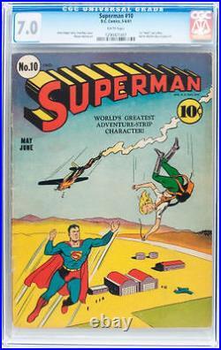 Superman #10 CGC 7.0 DC 1941 1st Lex Luthor bald! WHITE! JLA Batman! E6 127 cm