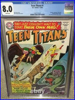 Teen Titans #1 CGC 8.0 DC 1966 Batman! Flash! WHITE PAGES! JLA! F10 112 cm