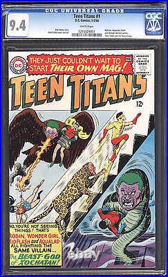 Teen Titans #1 CGC 9.4 DC 1966 WHITE! Batman! Flash! Justice League! C12 121 cm